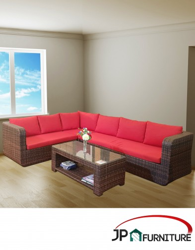Sofa L Shape Rotan Sintesis